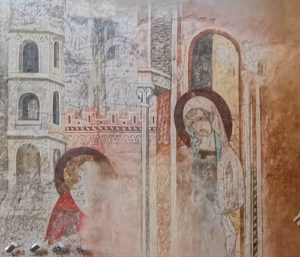 Fresque de l'Annonciation (XIVe siècle) - Eglise Notre Dame de la Réal à Perpignan